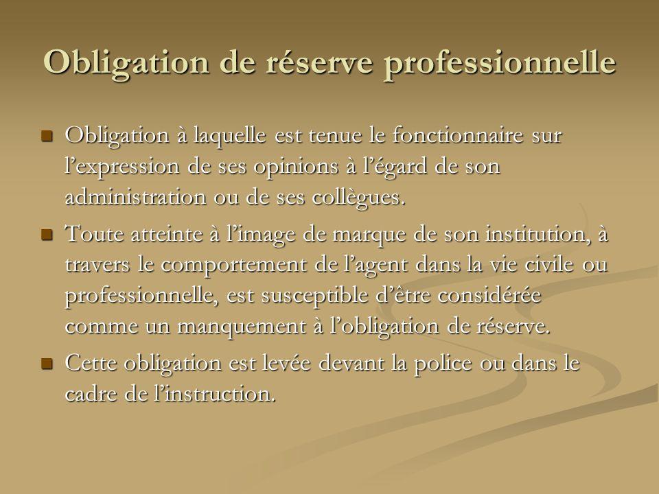Obligation de réserve professionnelle