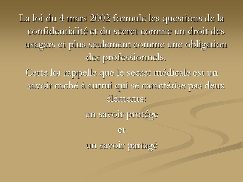La loi du 4 mars 2002 formule les questions de la confidentialité et du secret comme un droit des usagers et plus seulement comme une obligation des professionnels.