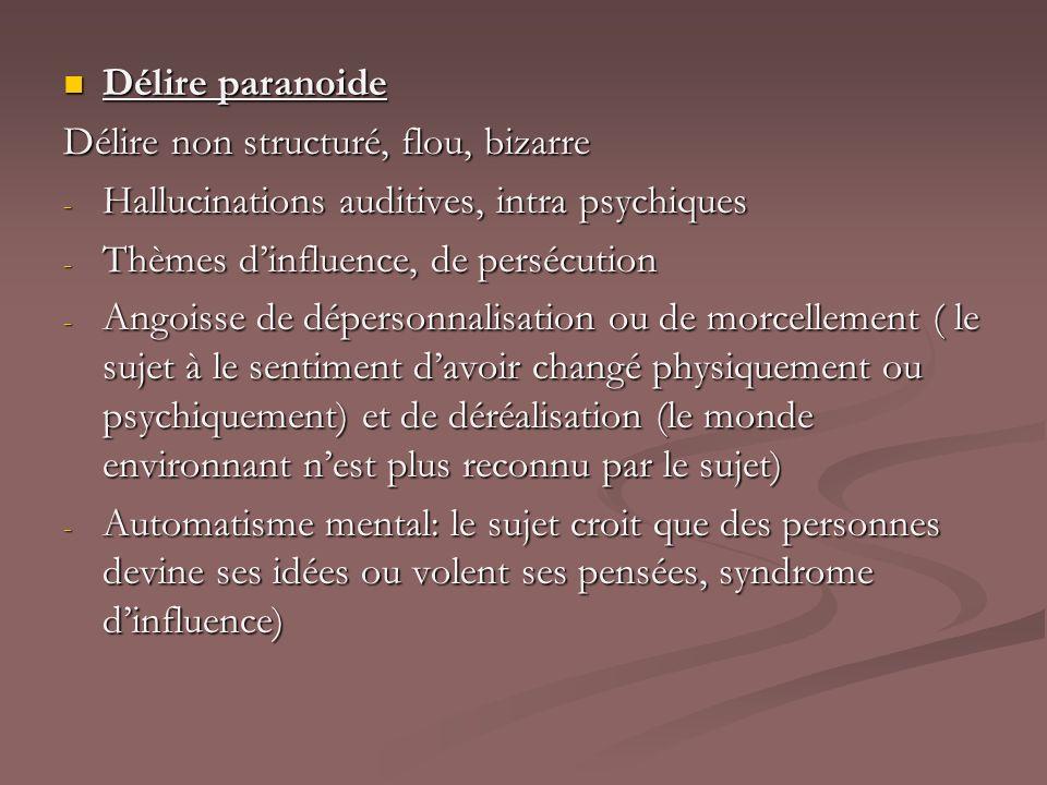 Délire paranoide Délire non structuré, flou, bizarre. Hallucinations auditives, intra psychiques. Thèmes d'influence, de persécution.