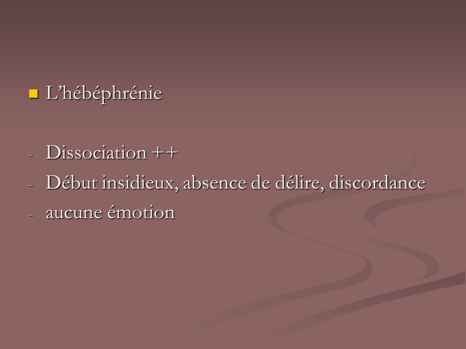 L'hébéphrénie Dissociation ++ Début insidieux, absence de délire, discordance aucune émotion
