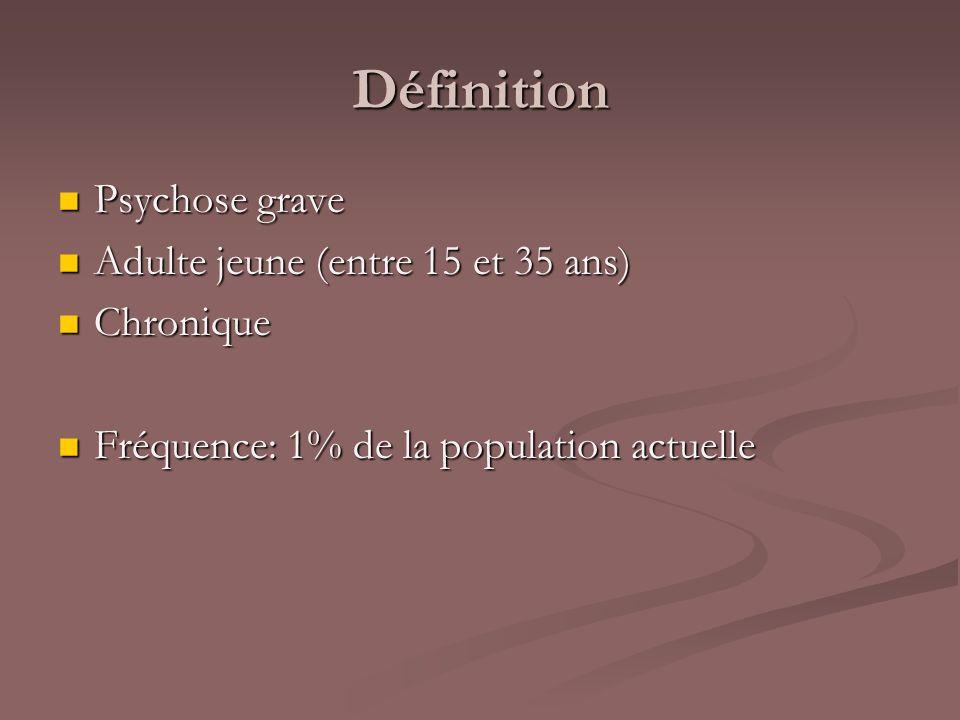 Définition Psychose grave Adulte jeune (entre 15 et 35 ans) Chronique