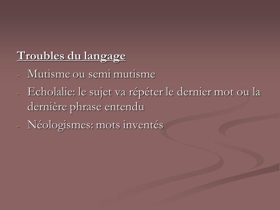Troubles du langage Mutisme ou semi mutisme. Echolalie: le sujet va répéter le dernier mot ou la dernière phrase entendu.