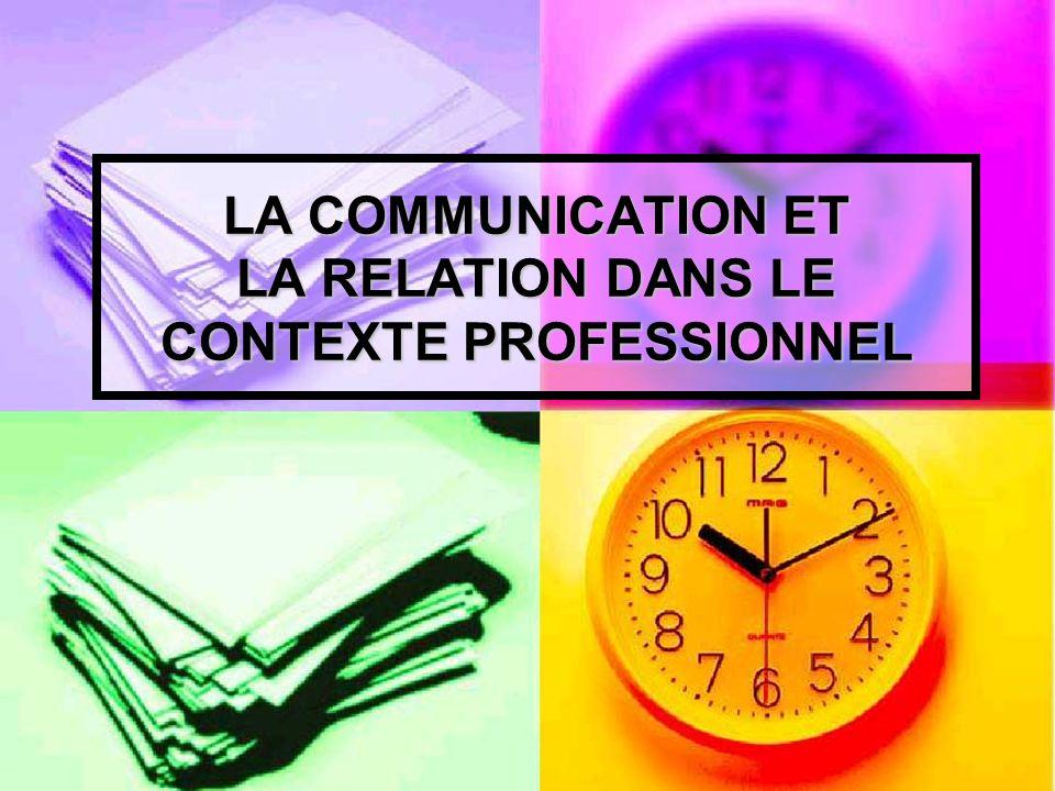 LA COMMUNICATION ET LA RELATION DANS LE CONTEXTE PROFESSIONNEL