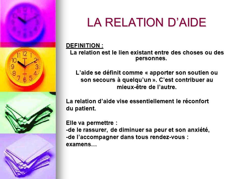 LA RELATION D'AIDE DEFINITION :