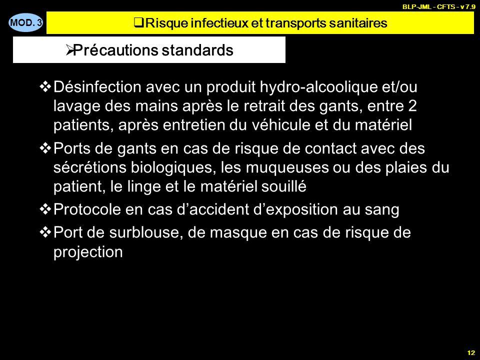 Risque infectieux et transports sanitaires