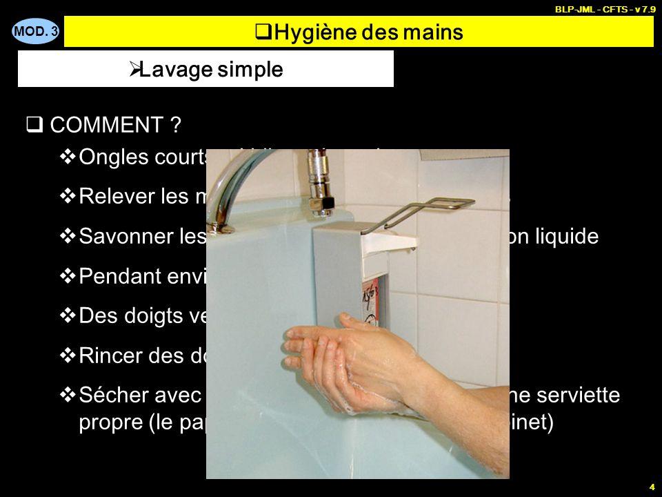 Hygiène des mains Lavage simple