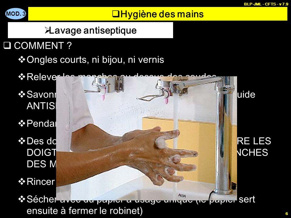 Hygiène des mains Lavage antiseptique