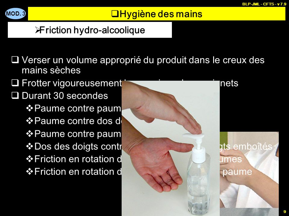 Friction hydro-alcoolique