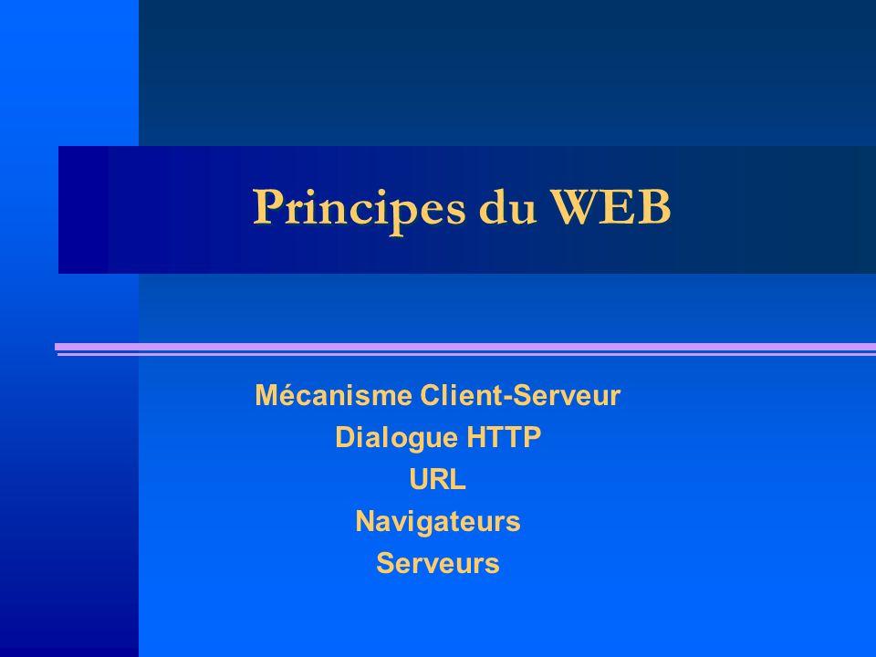 Mécanisme Client-Serveur Dialogue HTTP URL Navigateurs Serveurs