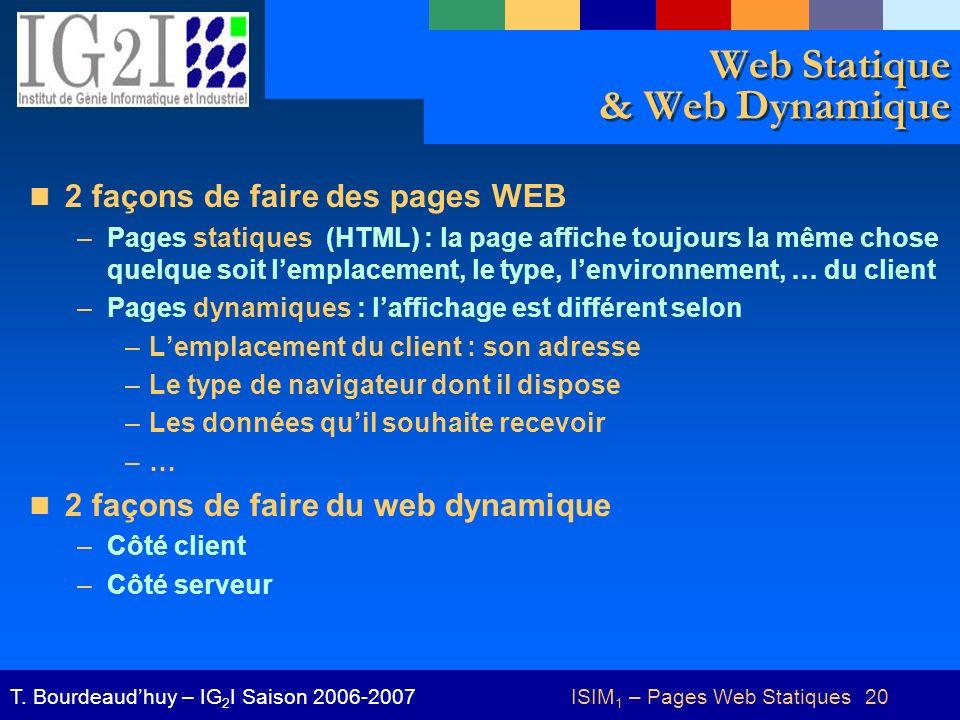Web Statique & Web Dynamique
