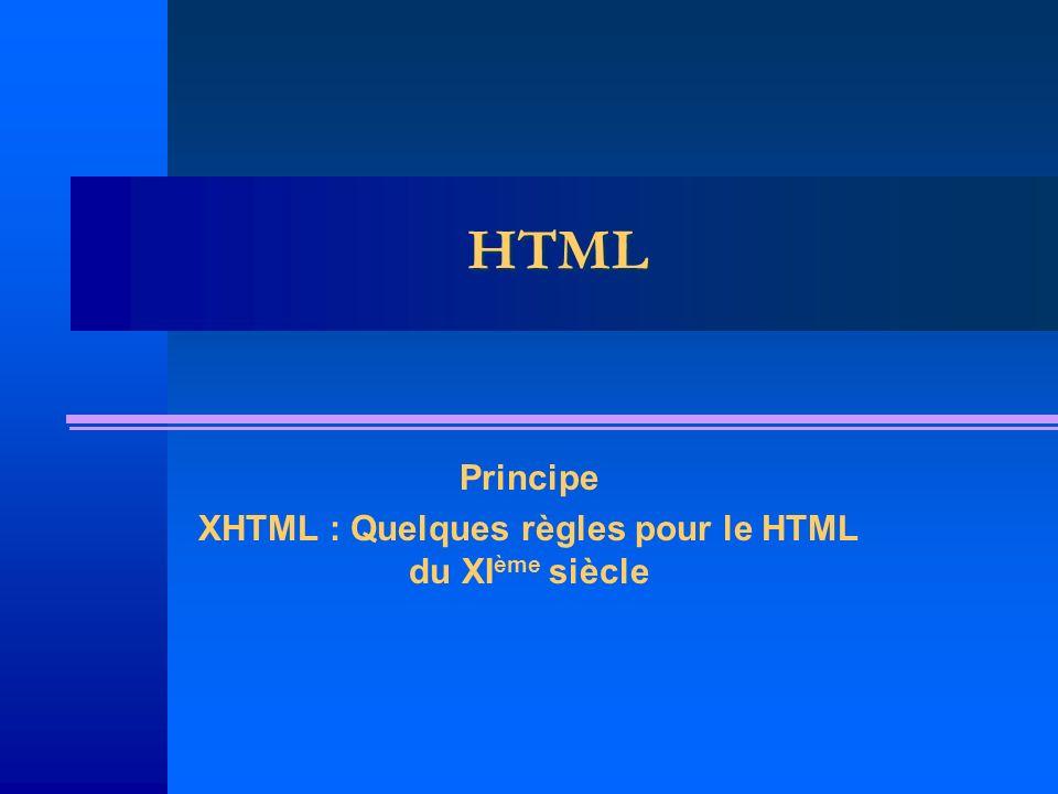 Principe XHTML : Quelques règles pour le HTML du XIème siècle