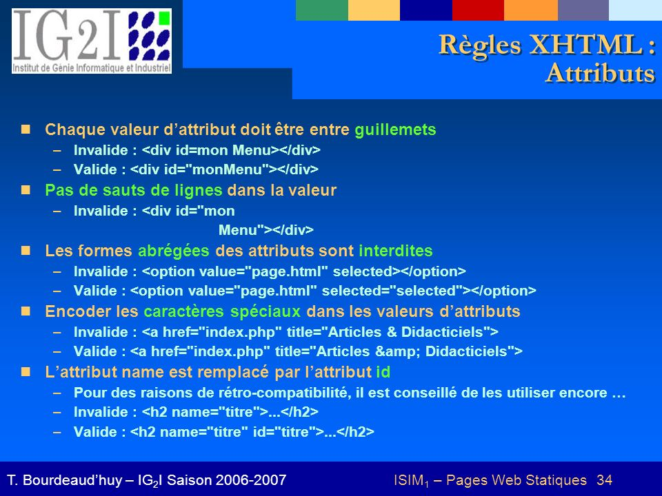 Règles XHTML : Attributs