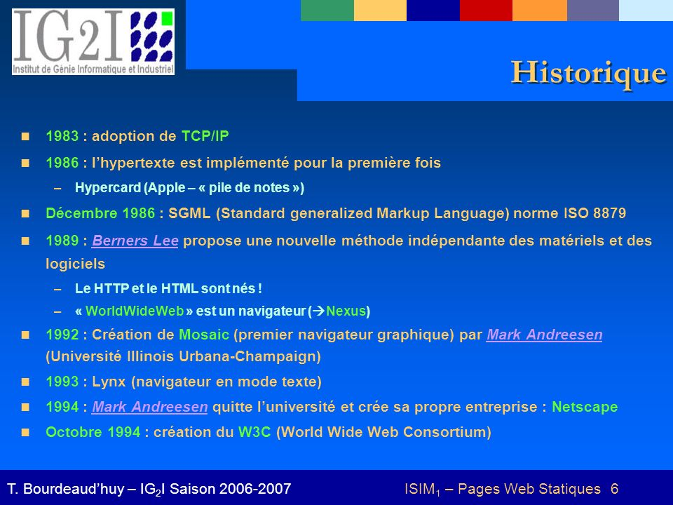 ISIM1 – Pages Web Statiques 6