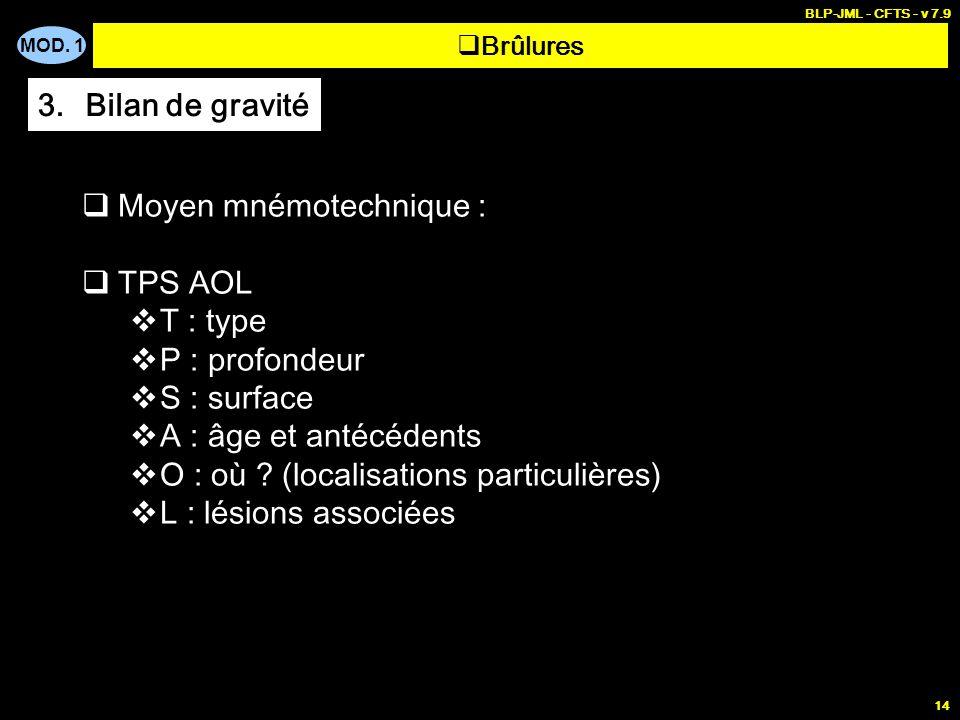 Moyen mnémotechnique : TPS AOL T : type P : profondeur S : surface