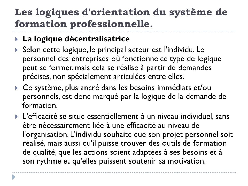 Les logiques d orientation du système de formation professionnelle.