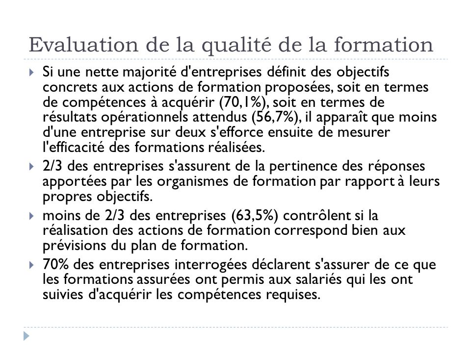 Evaluation de la qualité de la formation
