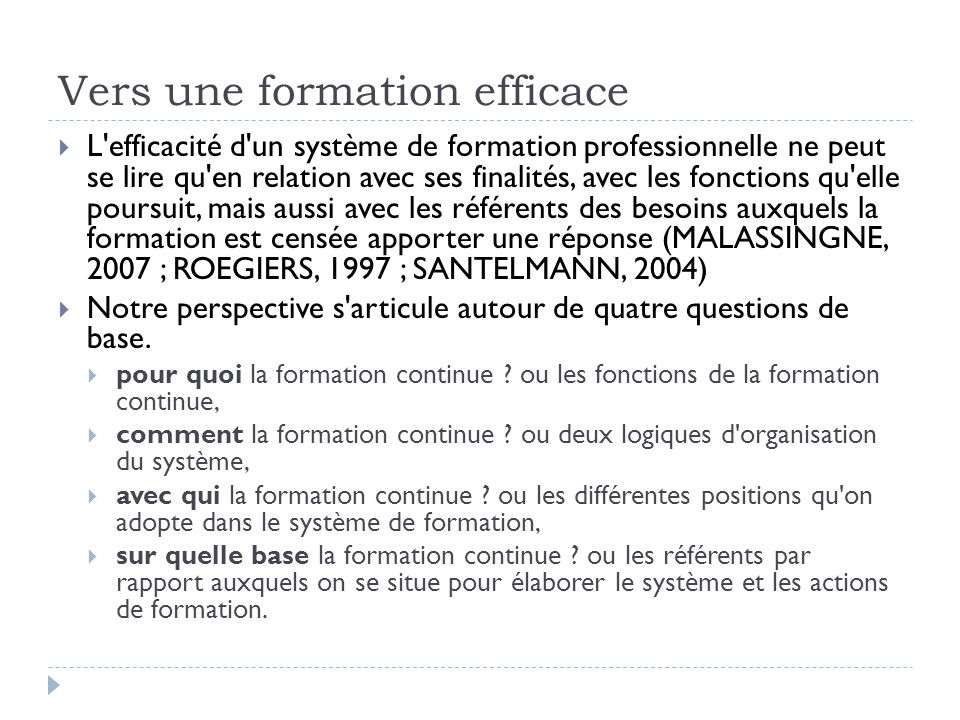 Vers une formation efficace