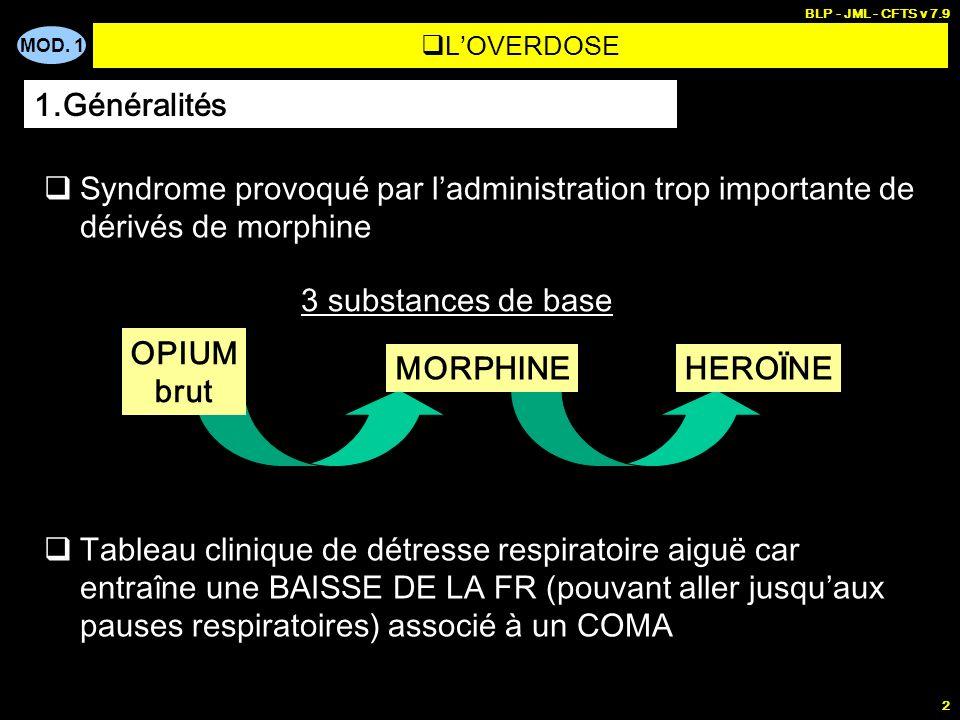 BLP - JML - CFTS v 7.9 L'OVERDOSE. 1.Généralités. Syndrome provoqué par l'administration trop importante de dérivés de morphine.
