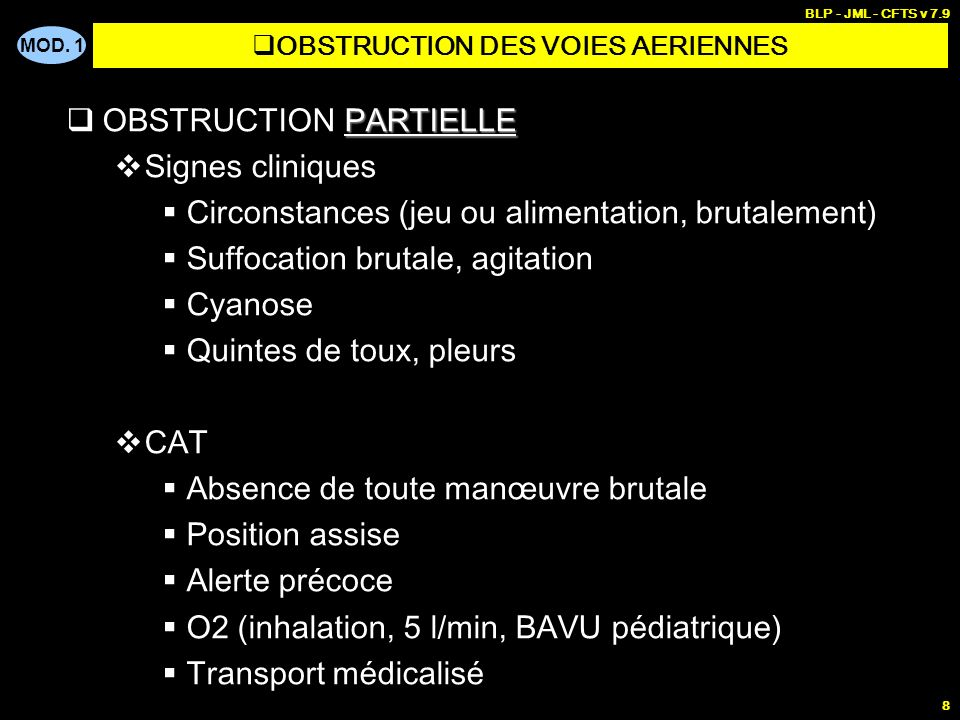 OBSTRUCTION DES VOIES AERIENNES