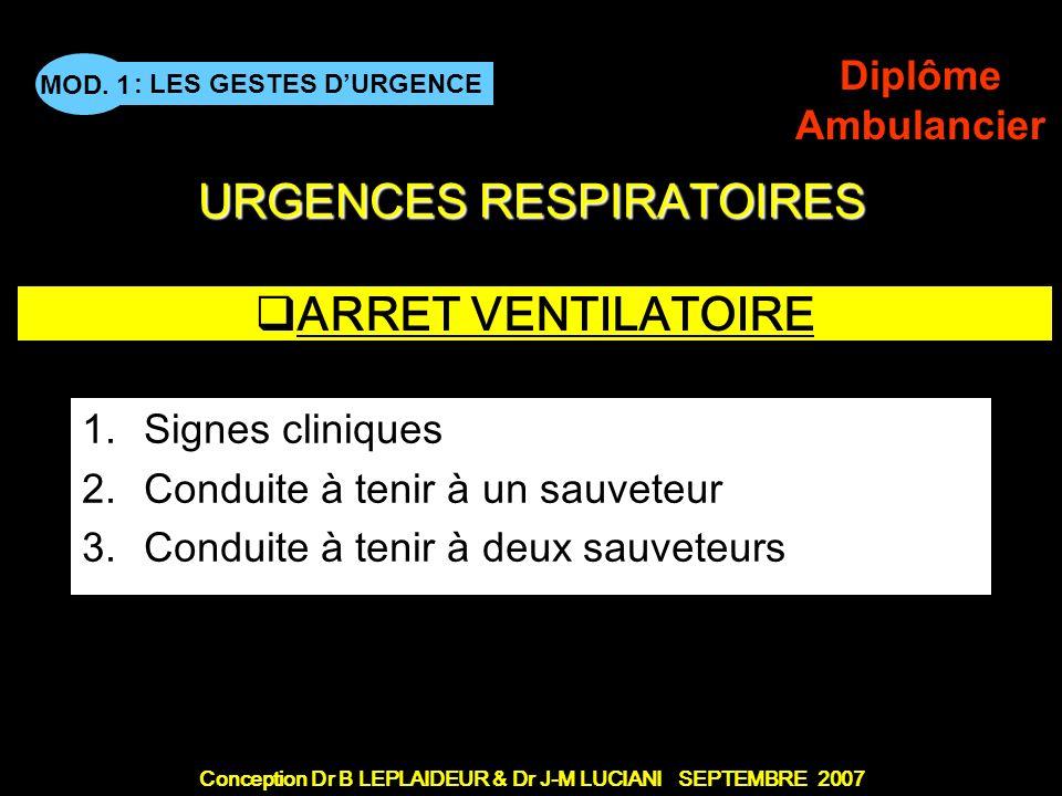 ARRET VENTILATOIRE Signes cliniques Conduite à tenir à un sauveteur