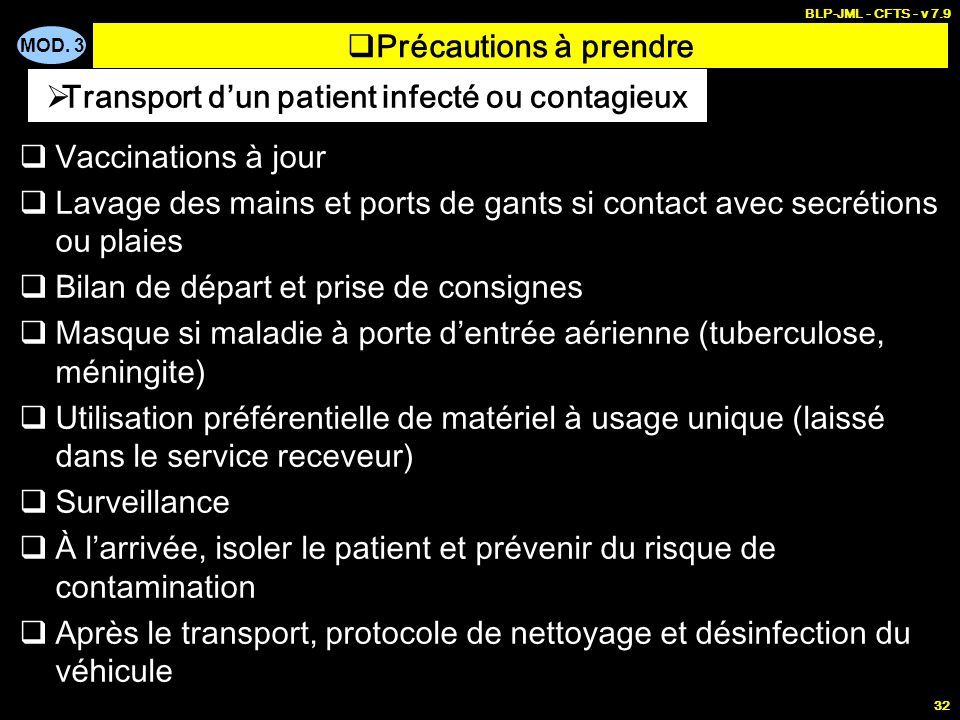 Transport d'un patient infecté ou contagieux