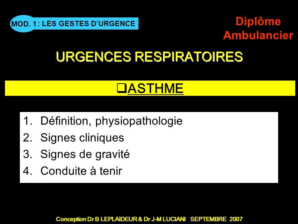 ASTHME Définition, physiopathologie Signes cliniques Signes de gravité