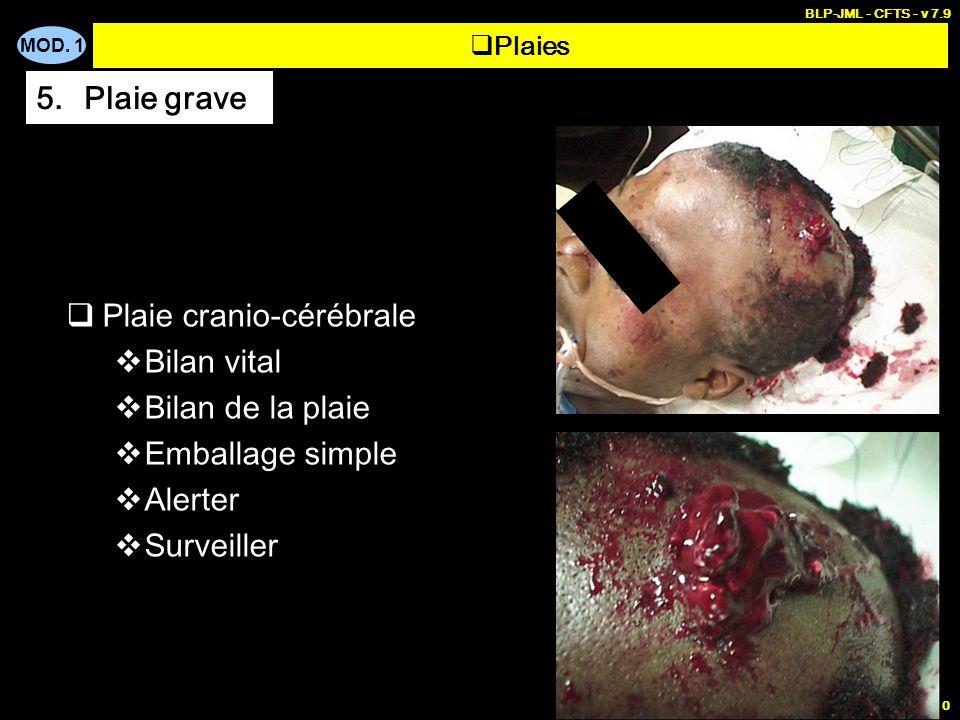 Plaie cranio-cérébrale Bilan vital Bilan de la plaie Emballage simple