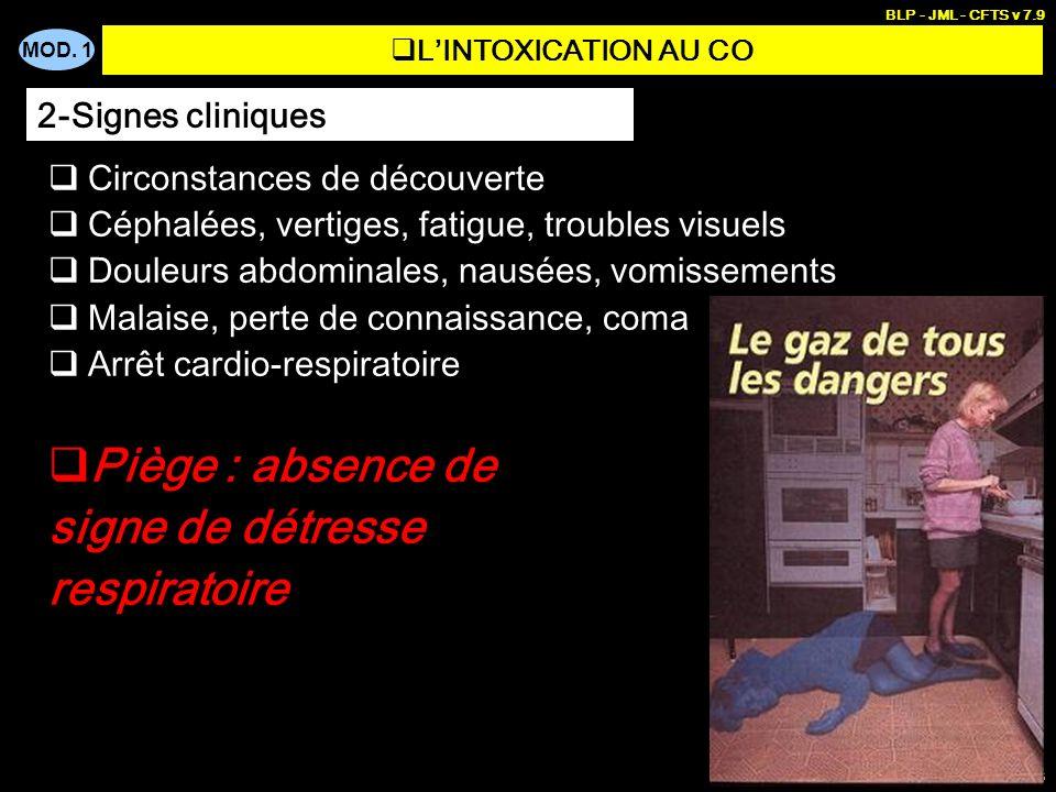 Piège : absence de signe de détresse respiratoire 2-Signes cliniques