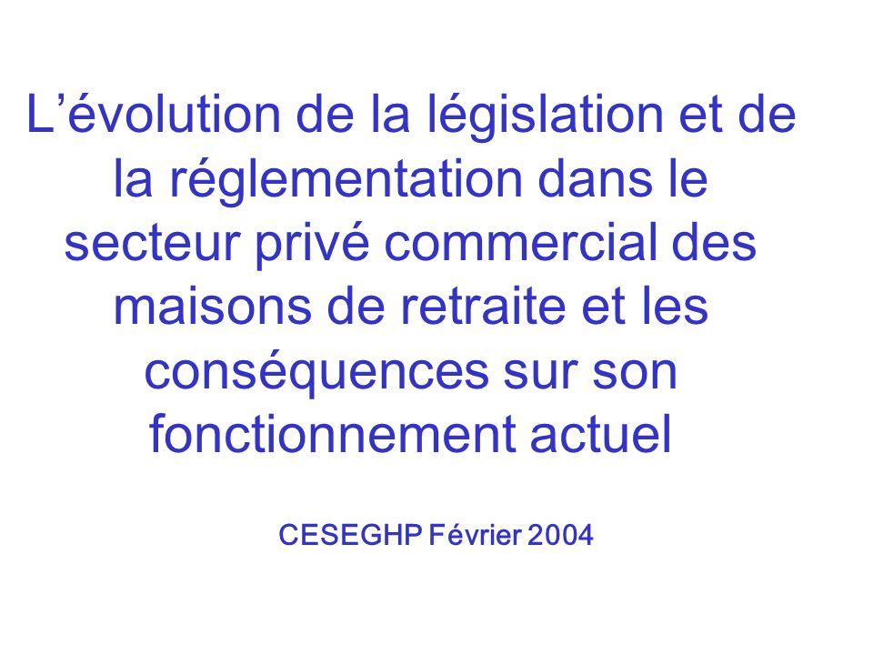 L'évolution de la législation et de la réglementation dans le secteur privé commercial des maisons de retraite et les conséquences sur son fonctionnement actuel