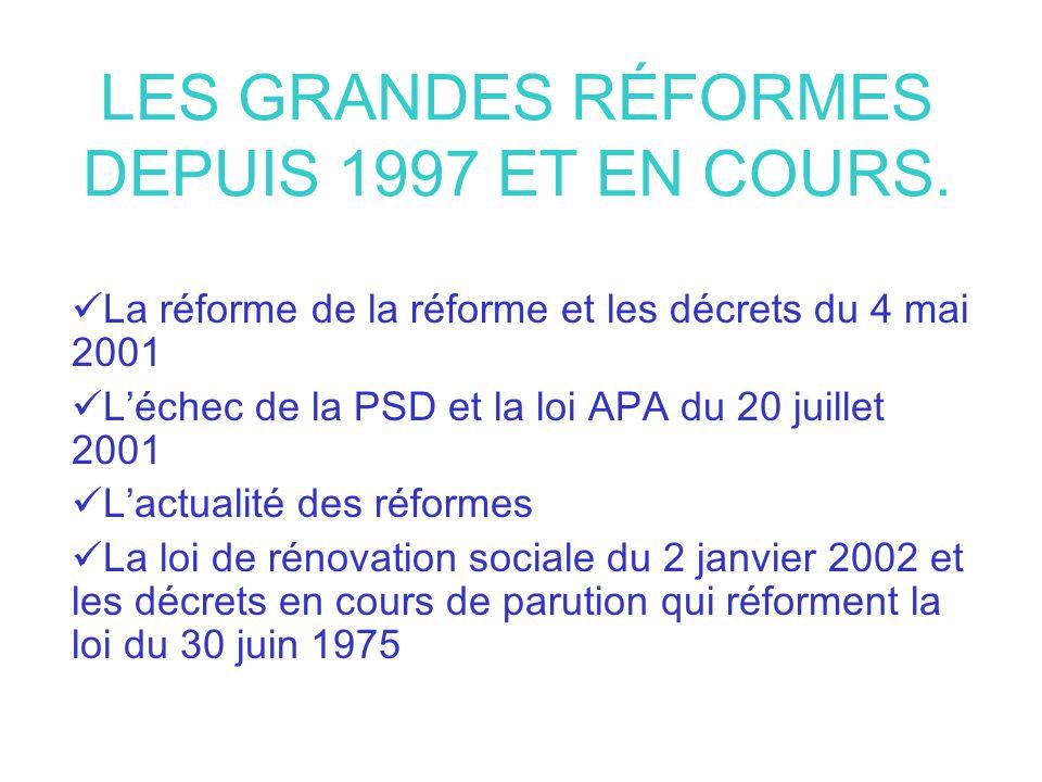 LES GRANDES RÉFORMES DEPUIS 1997 ET EN COURS.