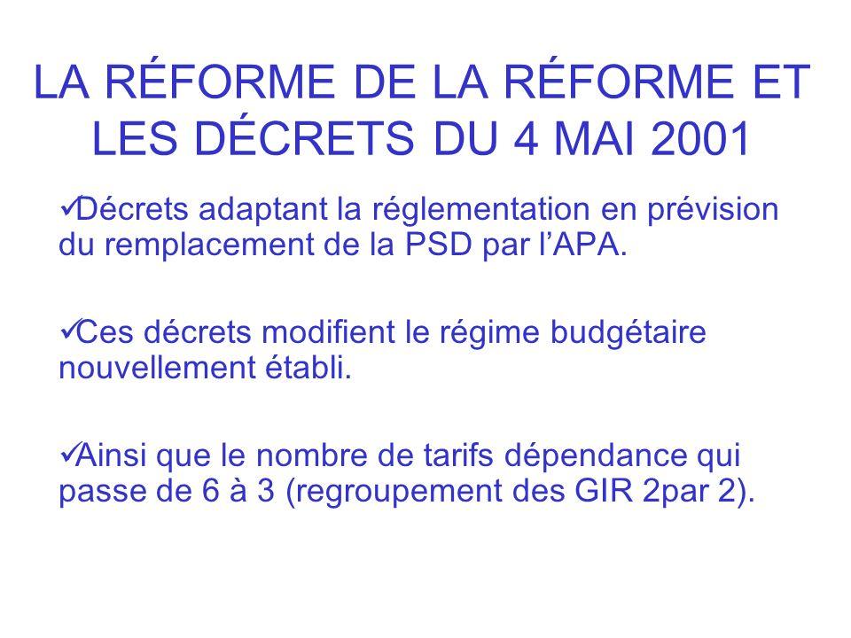 LA RÉFORME DE LA RÉFORME ET LES DÉCRETS DU 4 MAI 2001