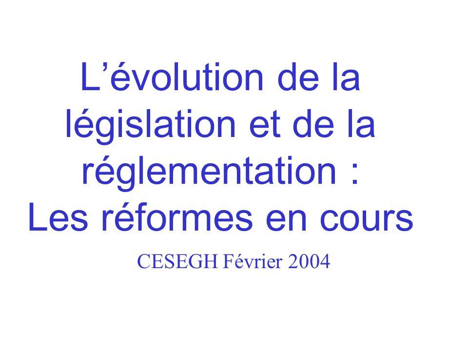 L'évolution de la législation et de la réglementation : Les réformes en cours