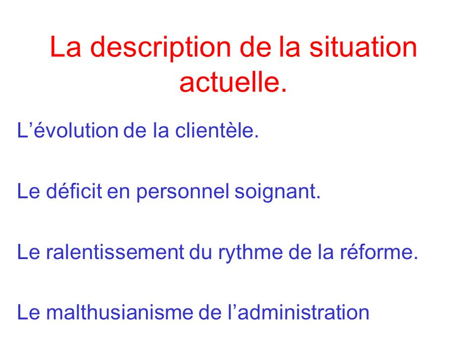 La description de la situation actuelle.