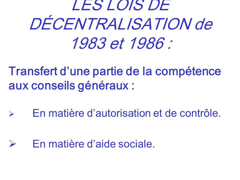LES LOIS DE DÉCENTRALISATION de 1983 et 1986 :