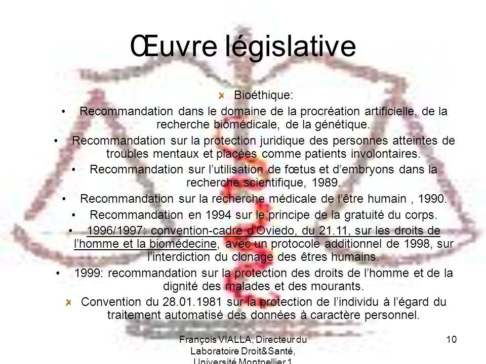 Œuvre législative Bioéthique: