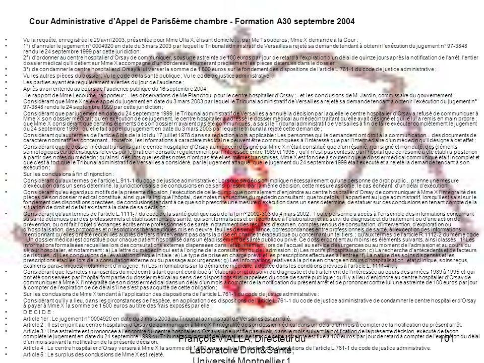 Cour Administrative d Appel de Paris5ème chambre - Formation A30 septembre 2004