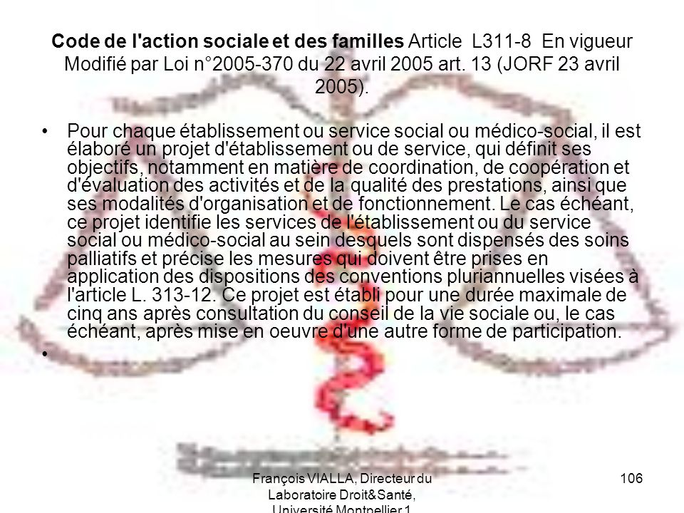 Code de l action sociale et des familles Article L311-8 En vigueur Modifié par Loi n°2005-370 du 22 avril 2005 art. 13 (JORF 23 avril 2005).