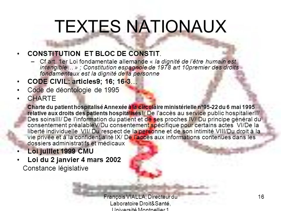 TEXTES NATIONAUX CONSTITUTION ET BLOC DE CONSTIT.