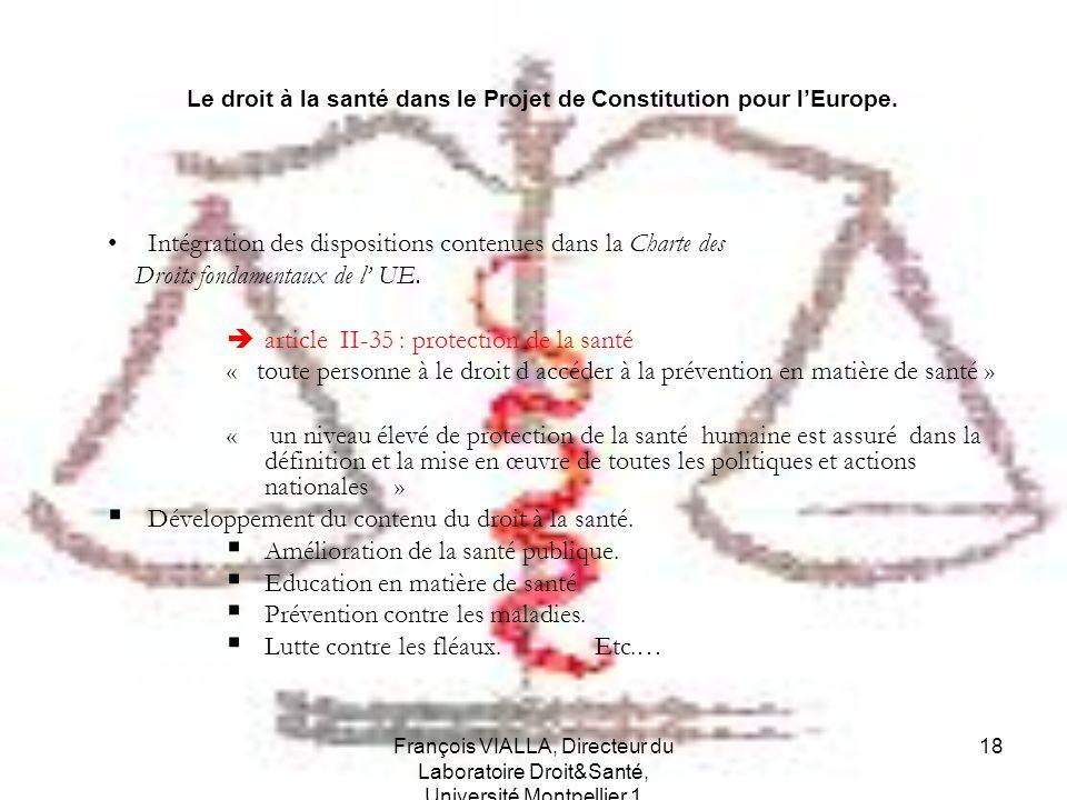 Le droit à la santé dans le Projet de Constitution pour l'Europe.