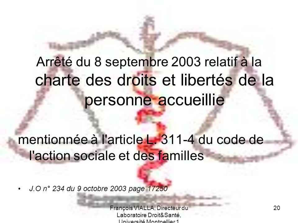 Arrêté du 8 septembre 2003 relatif à la charte des droits et libertés de la personne accueillie