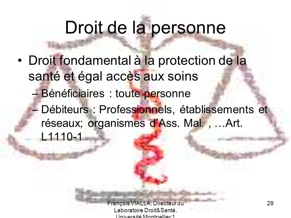 Droit de la personne Droit fondamental à la protection de la santé et égal accès aux soins. Bénéficiaires : toute personne.