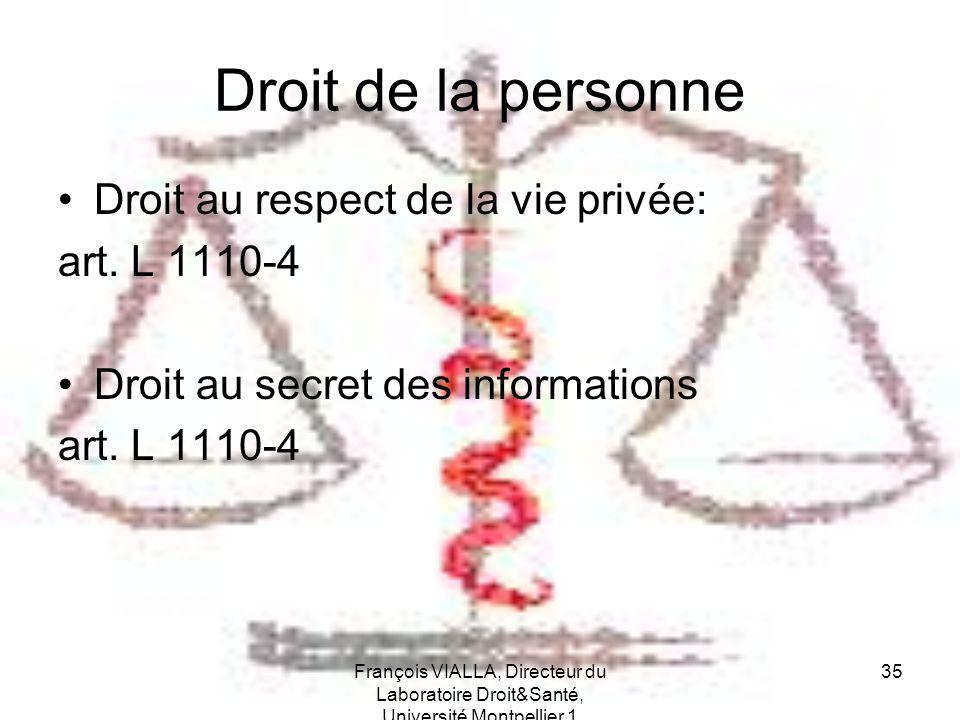 Droit de la personne Droit au respect de la vie privée: art. L 1110-4