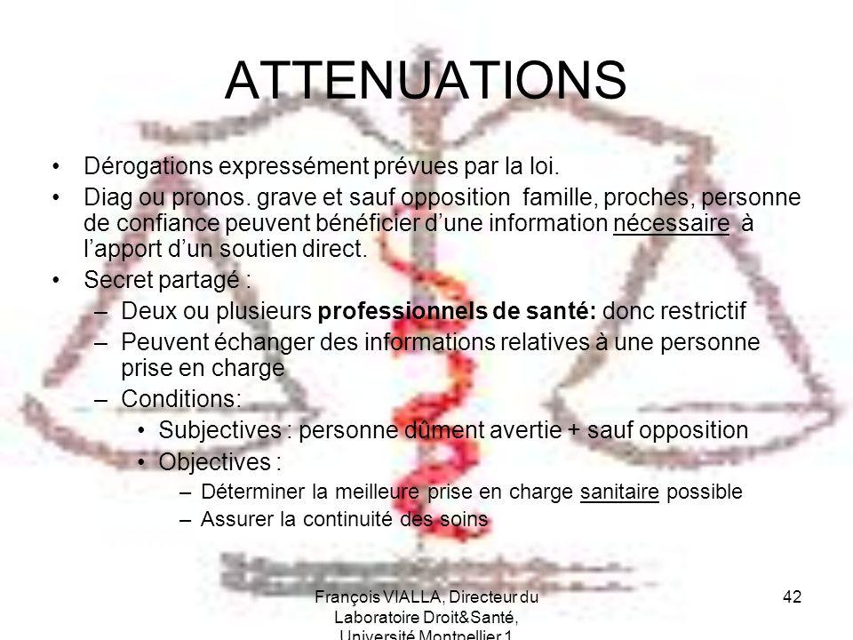ATTENUATIONS Dérogations expressément prévues par la loi.