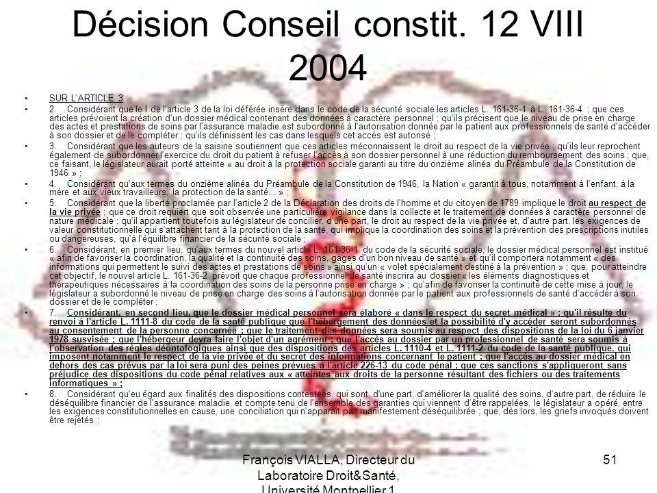 Décision Conseil constit. 12 VIII 2004