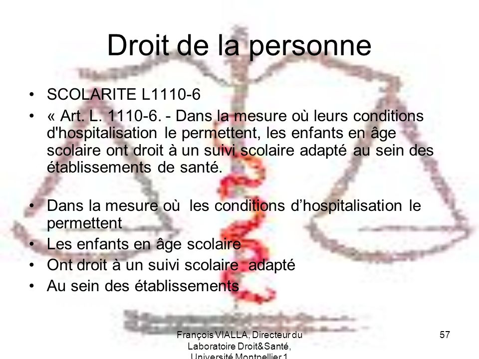 Droit de la personne SCOLARITE L1110-6
