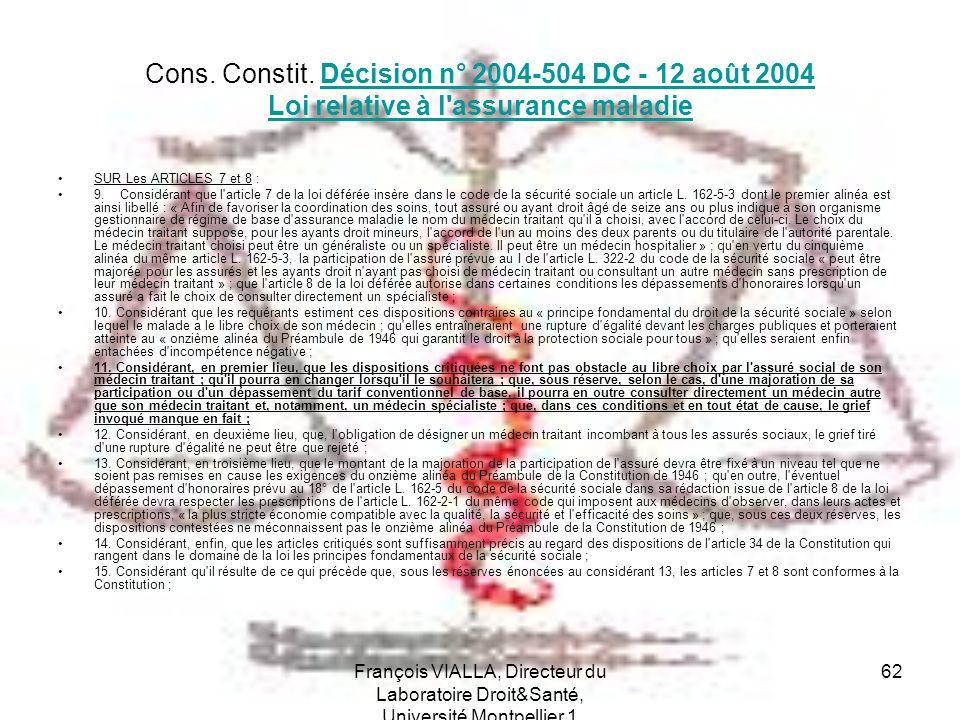 Cons. Constit. Décision n° 2004-504 DC - 12 août 2004 Loi relative à l assurance maladie