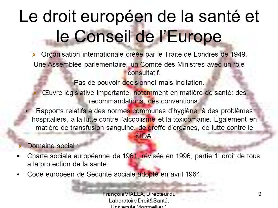 Le droit européen de la santé et le Conseil de l'Europe