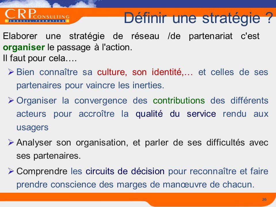 Définir une stratégie Elaborer une stratégie de réseau /de partenariat c est organiser le passage à l action.