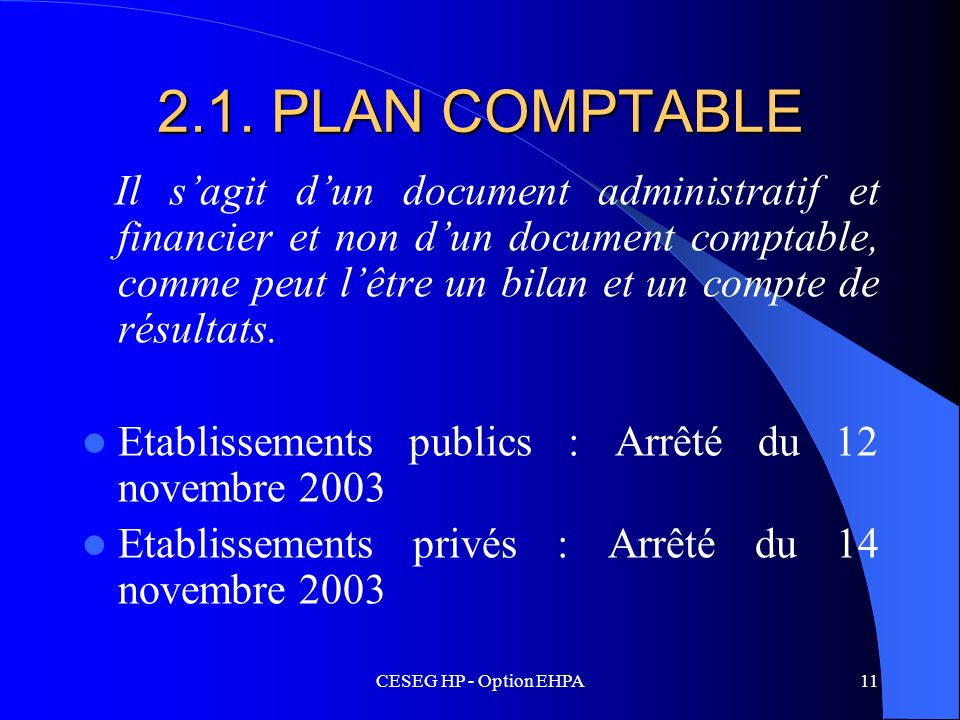 2.1. PLAN COMPTABLE