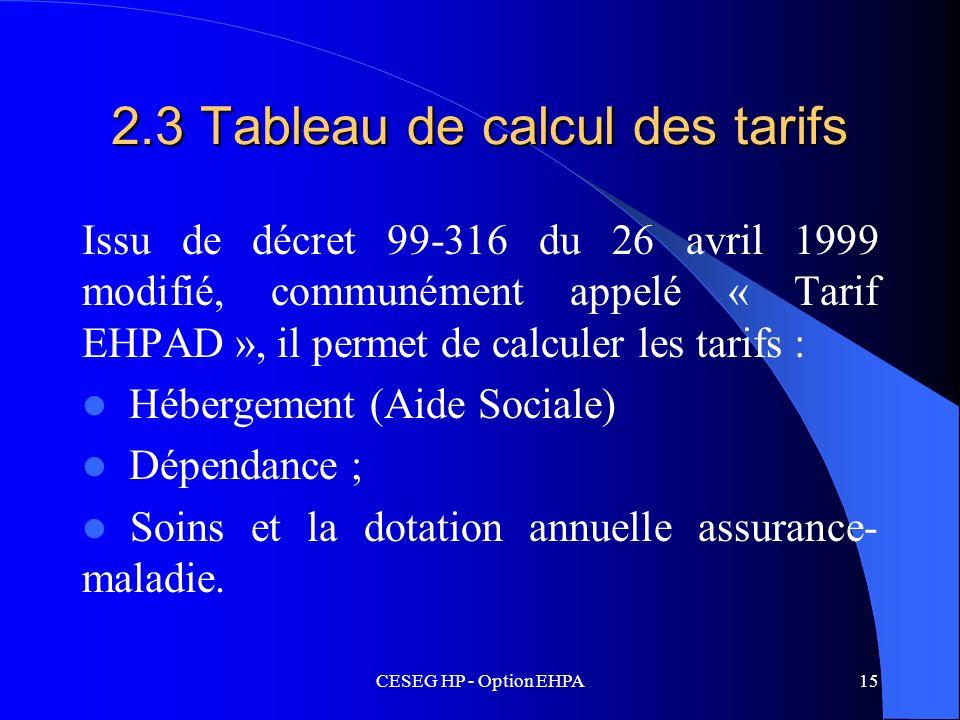 2.3 Tableau de calcul des tarifs